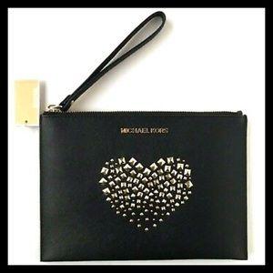 Michael Kors Wristlet Clutch Bag Studded Heart